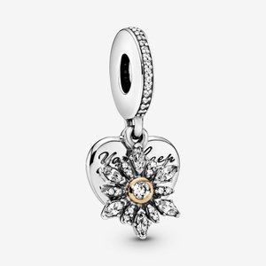 Pandora Snowflake & Heart Dangle Charm